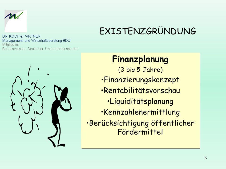 EXISTENZGRÜNDUNG Finanzplanung Finanzierungskonzept