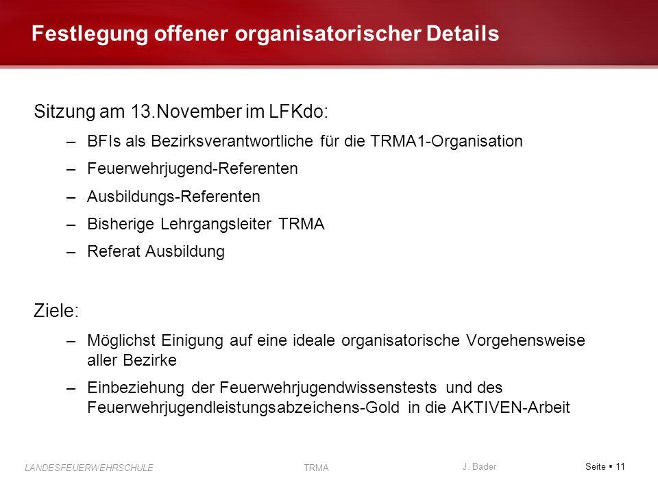 Festlegung offener organisatorischer Details