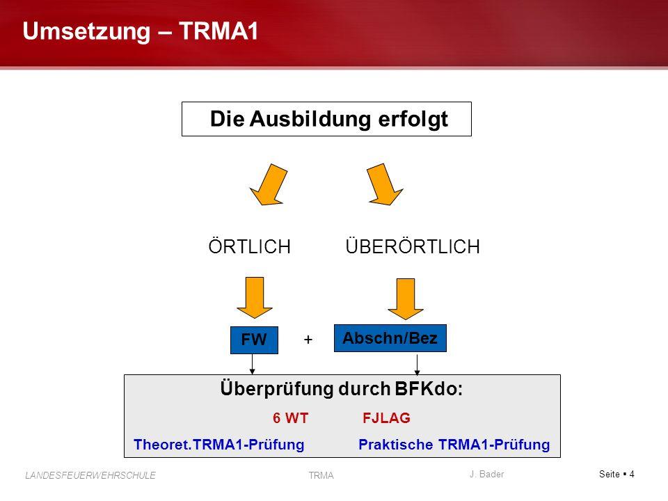 Umsetzung – TRMA1 Die Ausbildung erfolgt ÖRTLICH ÜBERÖRTLICH