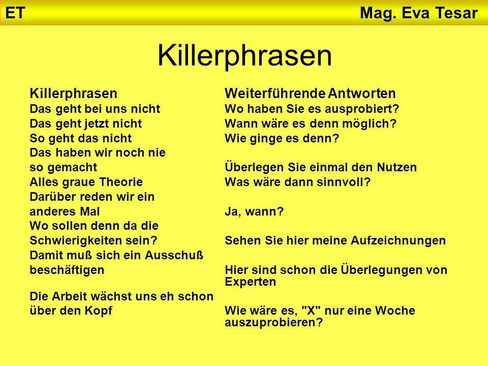 Killerphrasen ET Mag. Eva Tesar Killerphrasen Weiterführende Antworten