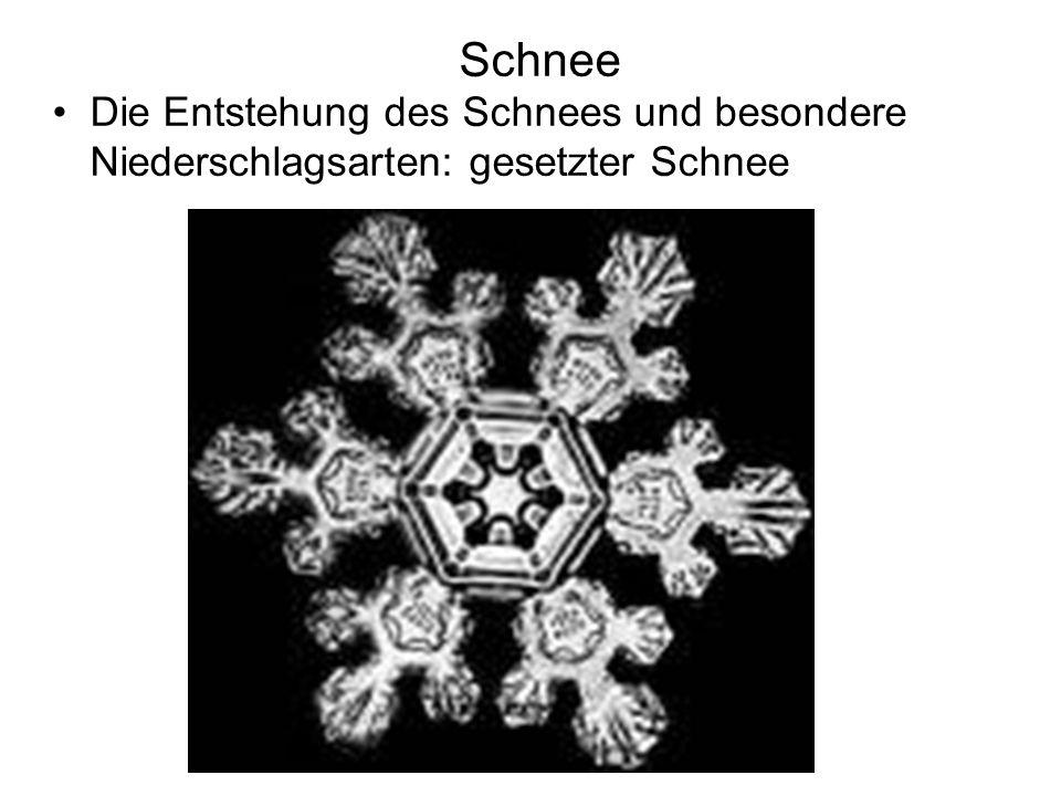 Schnee Die Entstehung des Schnees und besondere Niederschlagsarten: gesetzter Schnee