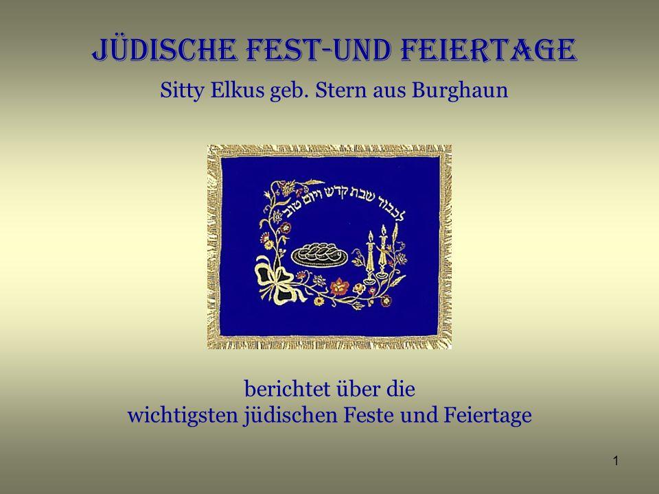 JÜDISCHE FEST-UND FEIERTAGE Sitty Elkus geb. Stern aus Burghaun