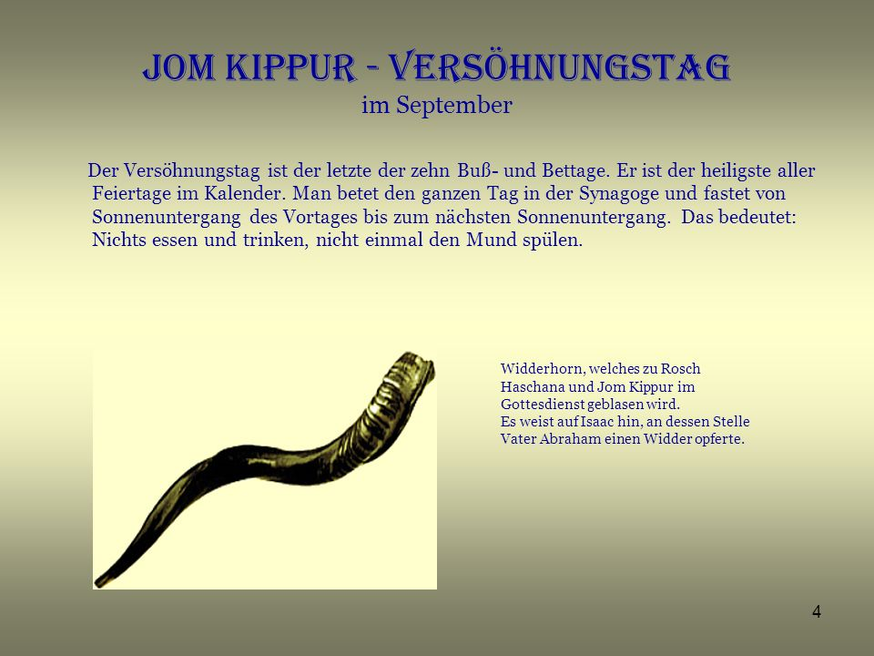 Jom Kippur - Versöhnungstag im September