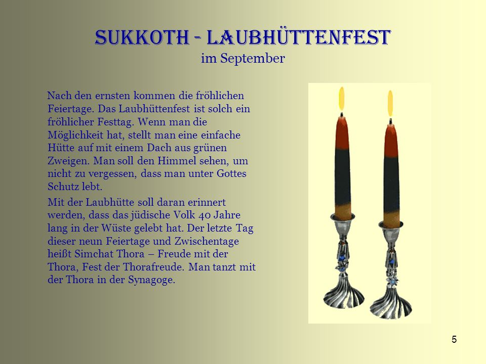 Sukkoth - Laubhüttenfest im September