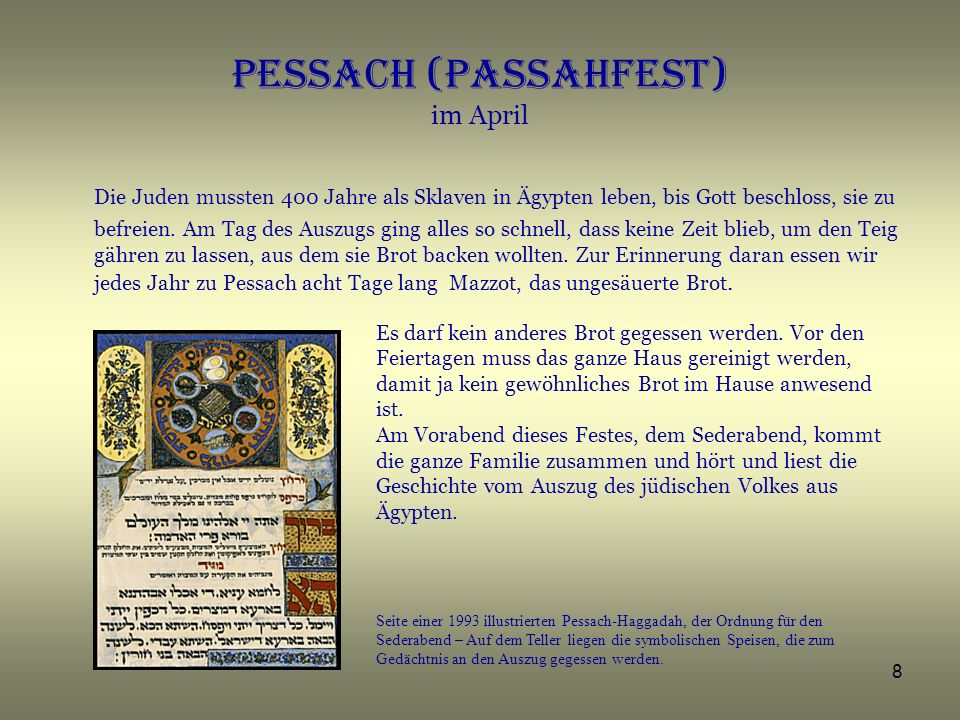 Pessach (Passahfest) im April