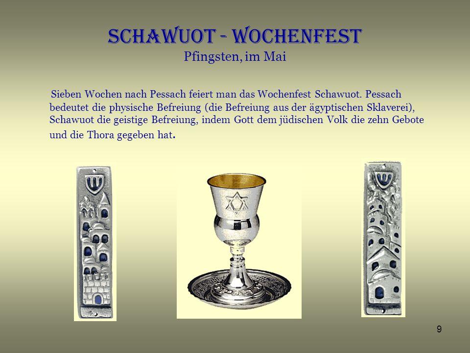 Schawuot - Wochenfest Pfingsten, im Mai