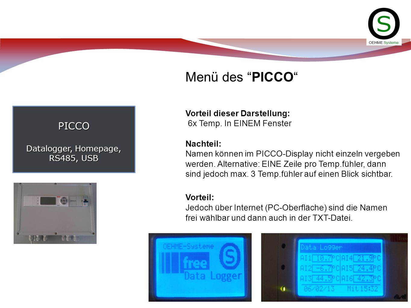 PICCO Datalogger, Homepage, RS485, USB