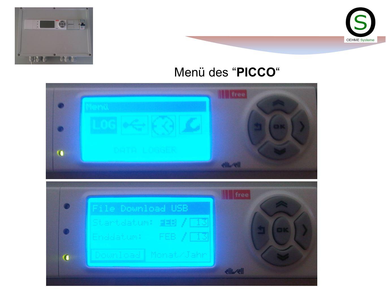 Menü des PICCO