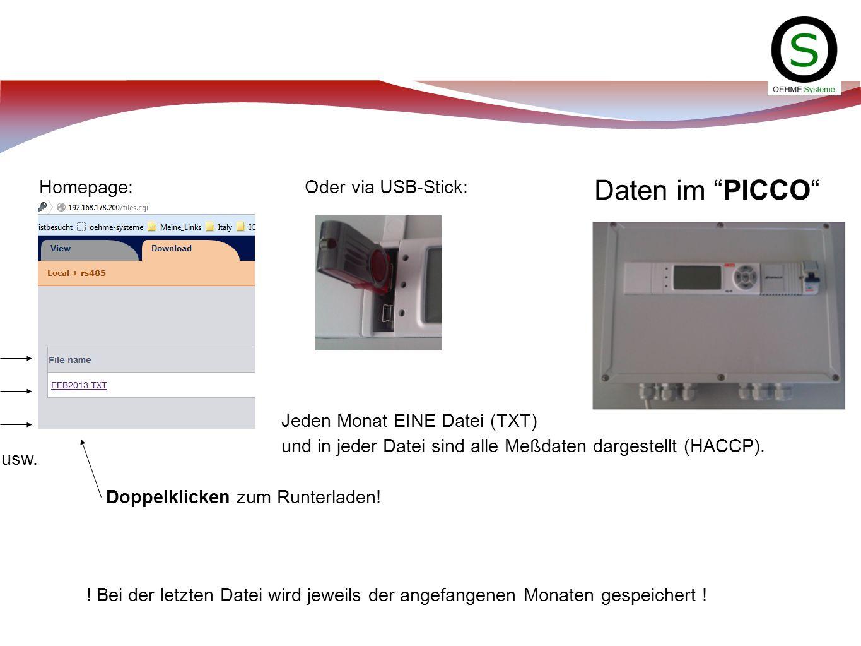 Daten im PICCO Homepage: Oder via USB-Stick: