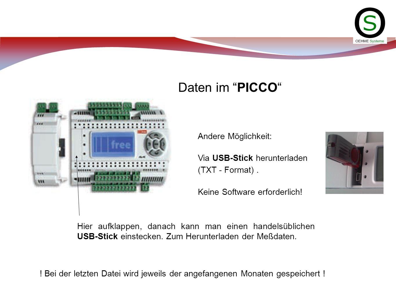 Daten im PICCO Andere Möglichkeit: Via USB-Stick herunterladen