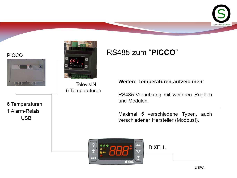 RS485 zum PICCO PICCO Weitere Temperaturen aufzeichnen: