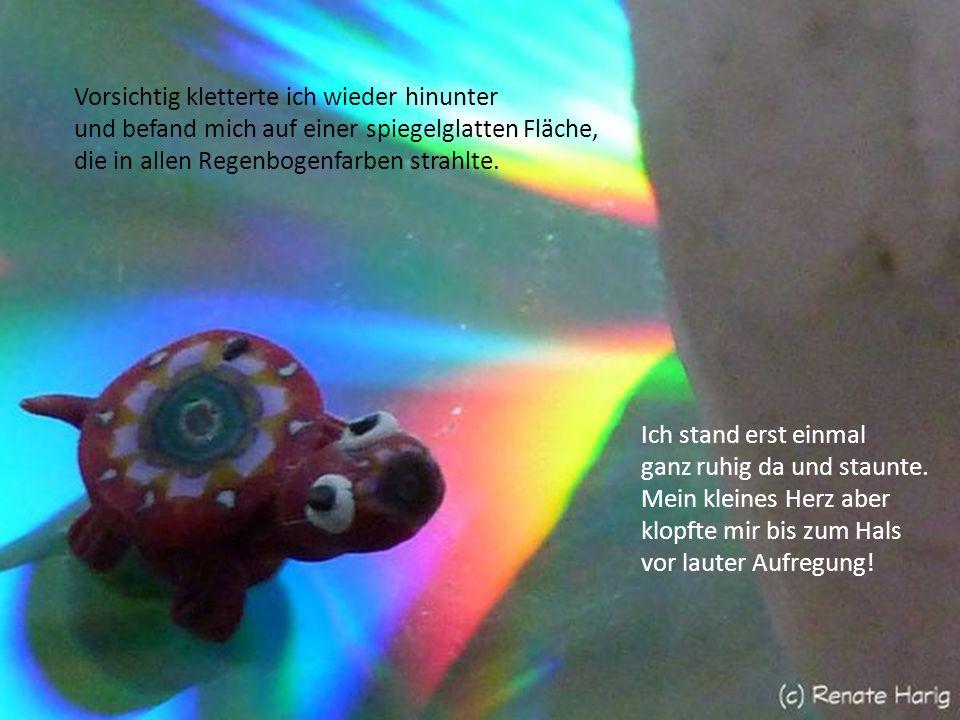 Vorsichtig kletterte ich wieder hinunter und befand mich auf einer spiegelglatten Fläche, die in allen Regenbogenfarben strahlte.