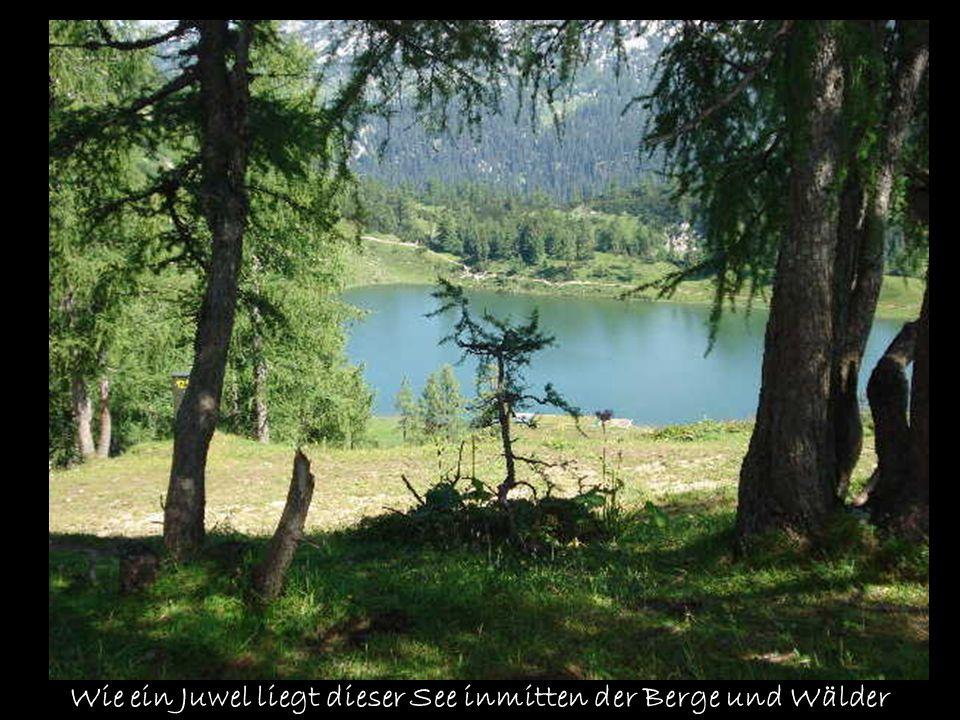 Wie ein Juwel liegt dieser See inmitten der Berge und Wälder