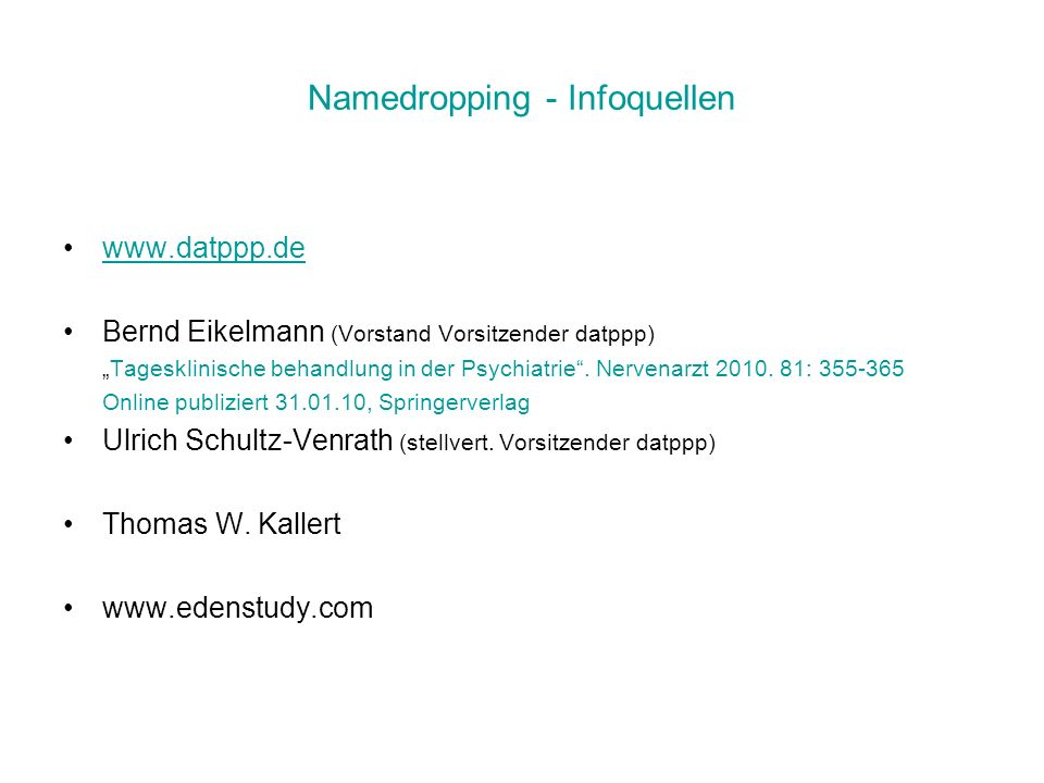 Namedropping - Infoquellen