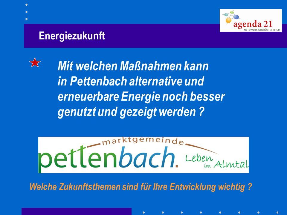 Energiezukunft Mit welchen Maßnahmen kann. in Pettenbach alternative und erneuerbare Energie noch besser genutzt und gezeigt werden