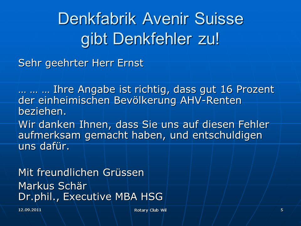 Denkfabrik Avenir Suisse gibt Denkfehler zu!