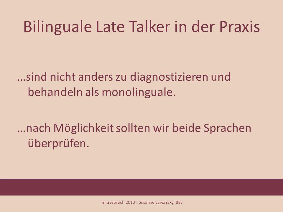 Bilinguale Late Talker in der Praxis