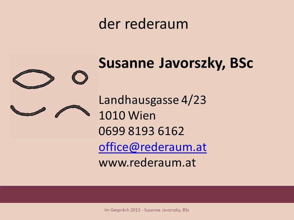 Im Gespräch 2013 - Susanne Javorszky, BSc