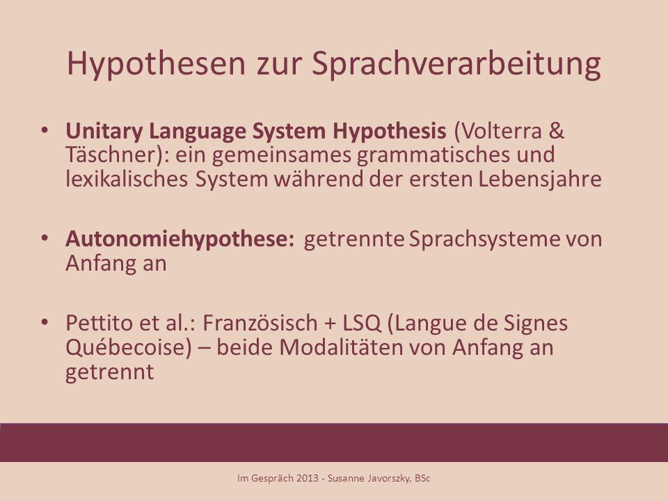 Hypothesen zur Sprachverarbeitung