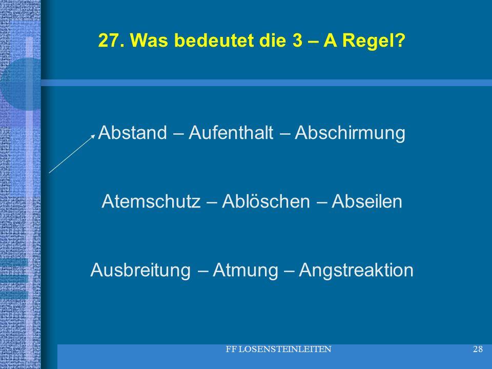 27. Was bedeutet die 3 – A Regel