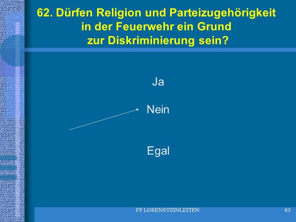 62. Dürfen Religion und Parteizugehörigkeit in der Feuerwehr ein Grund