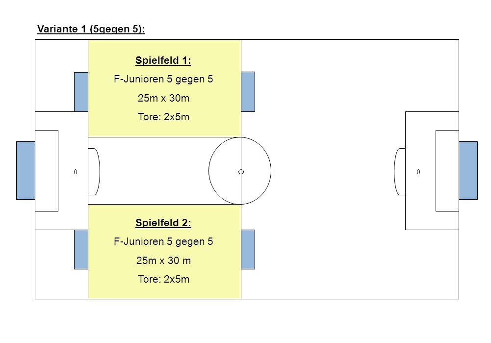 Variante 1 (5gegen 5): Spielfeld 1: F-Junioren 5 gegen 5. 25m x 30m. Tore: 2x5m. Spielfeld 2: F-Junioren 5 gegen 5.