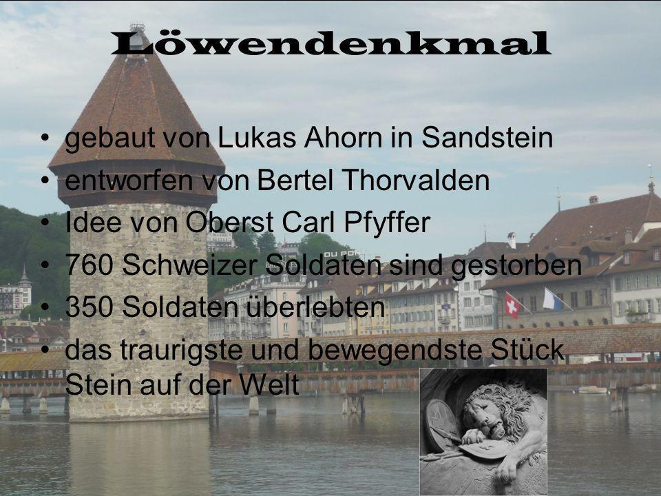 Löwendenkmal gebaut von Lukas Ahorn in Sandstein