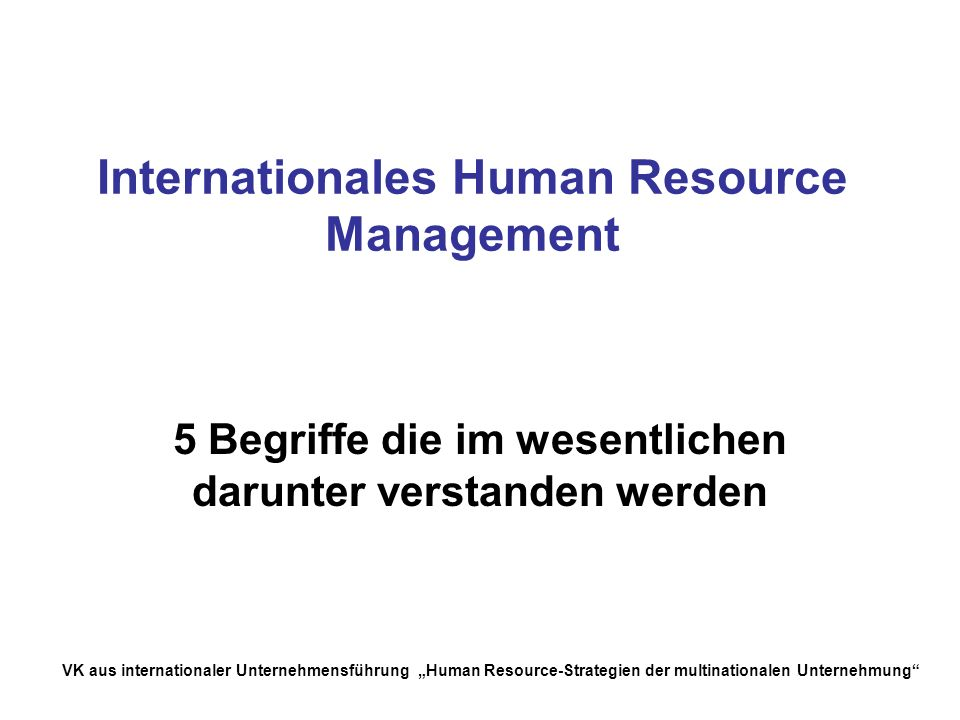 Internationales Human Resource Management