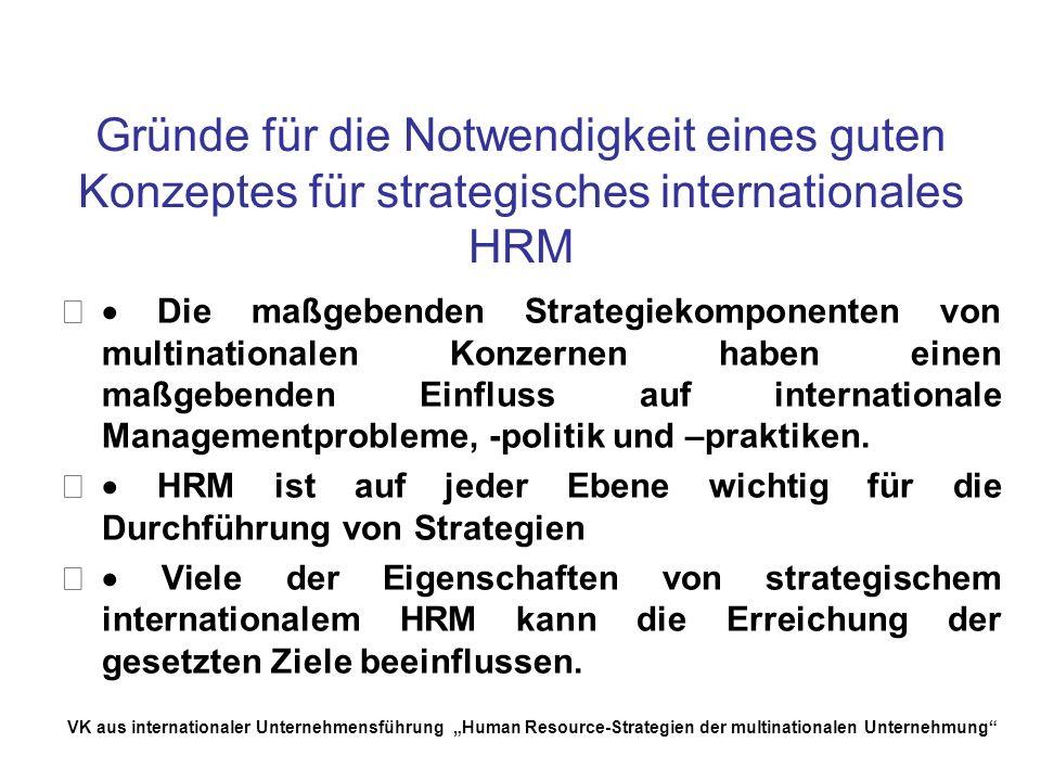 Gründe für die Notwendigkeit eines guten Konzeptes für strategisches internationales HRM