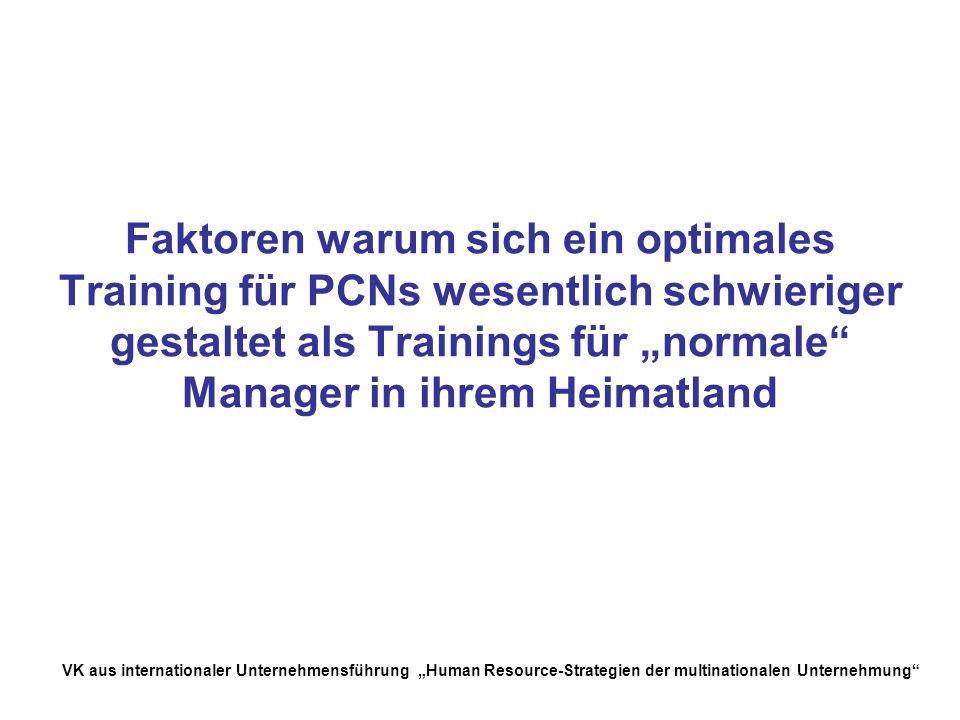 """Faktoren warum sich ein optimales Training für PCNs wesentlich schwieriger gestaltet als Trainings für """"normale Manager in ihrem Heimatland"""