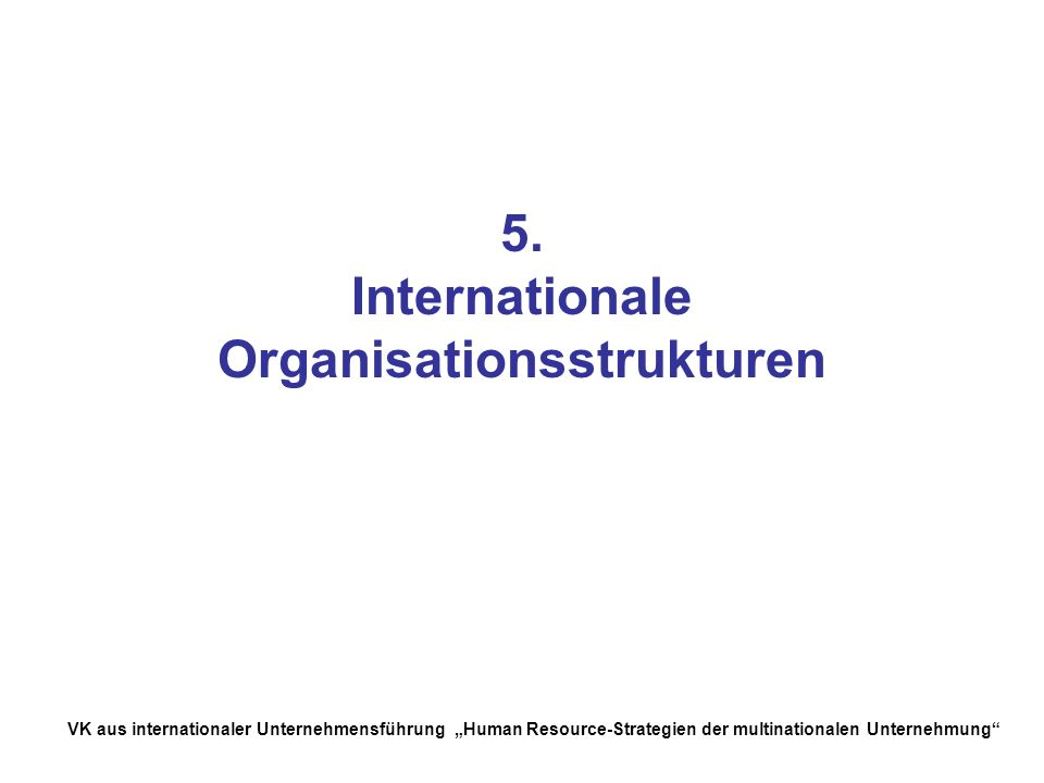 5. Internationale Organisationsstrukturen