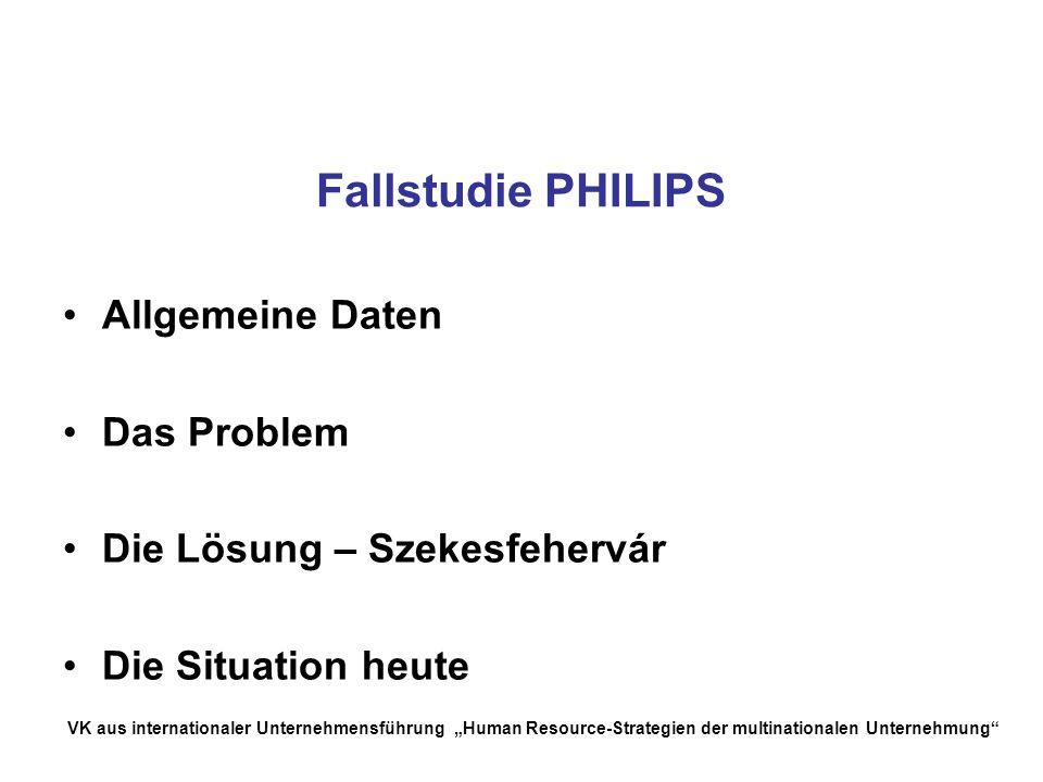 Fallstudie PHILIPS Allgemeine Daten Das Problem