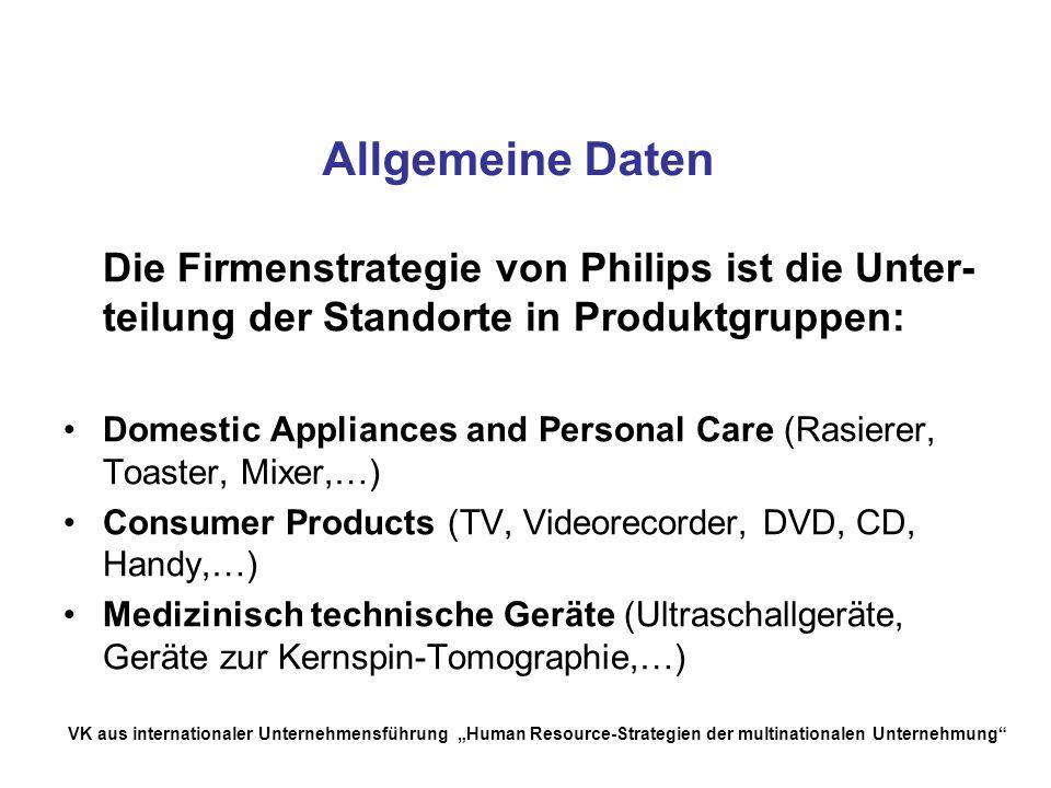 Allgemeine Daten Die Firmenstrategie von Philips ist die Unter-teilung der Standorte in Produktgruppen: