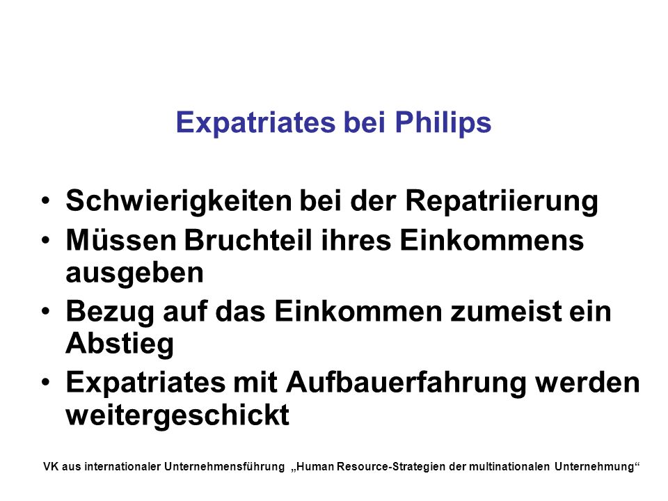 Expatriates bei Philips