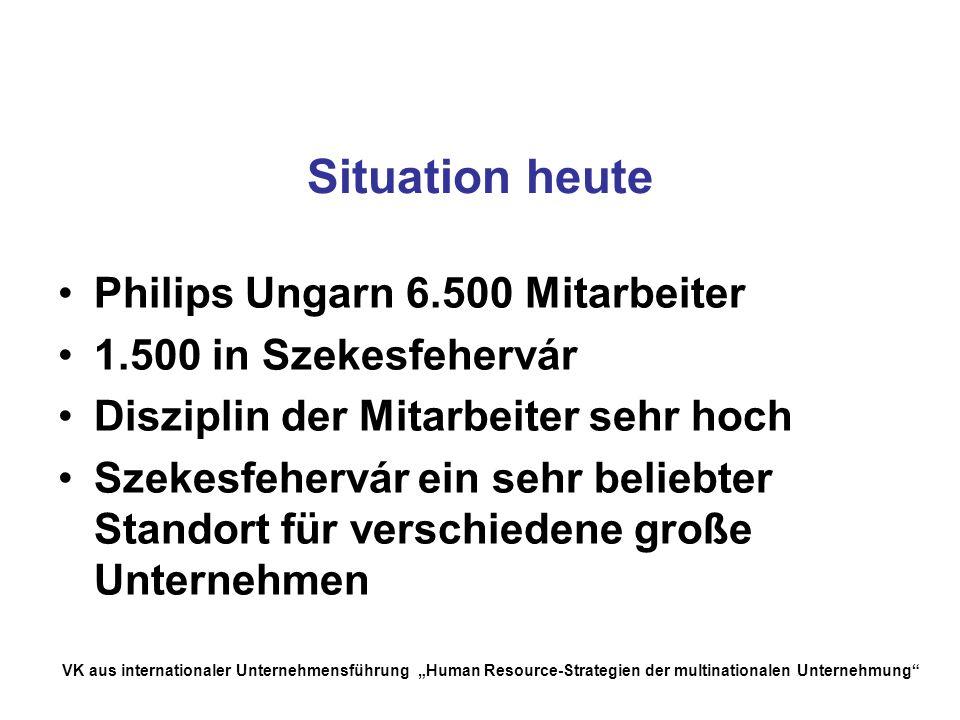 Situation heute Philips Ungarn 6.500 Mitarbeiter