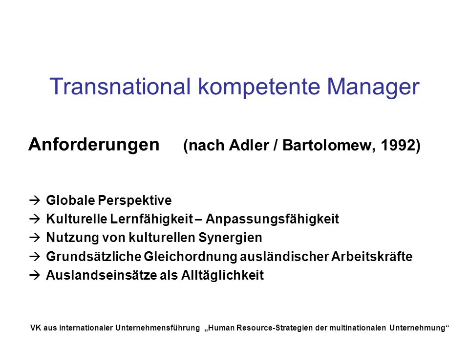 Transnational kompetente Manager