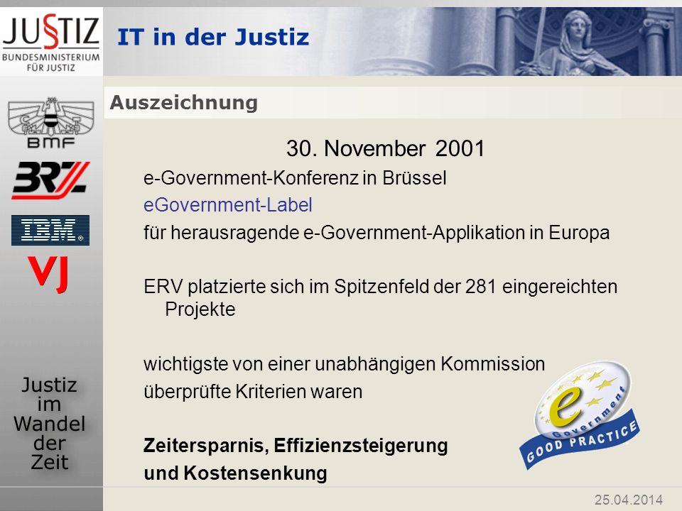 30. November 2001 Auszeichnung e-Government-Konferenz in Brüssel