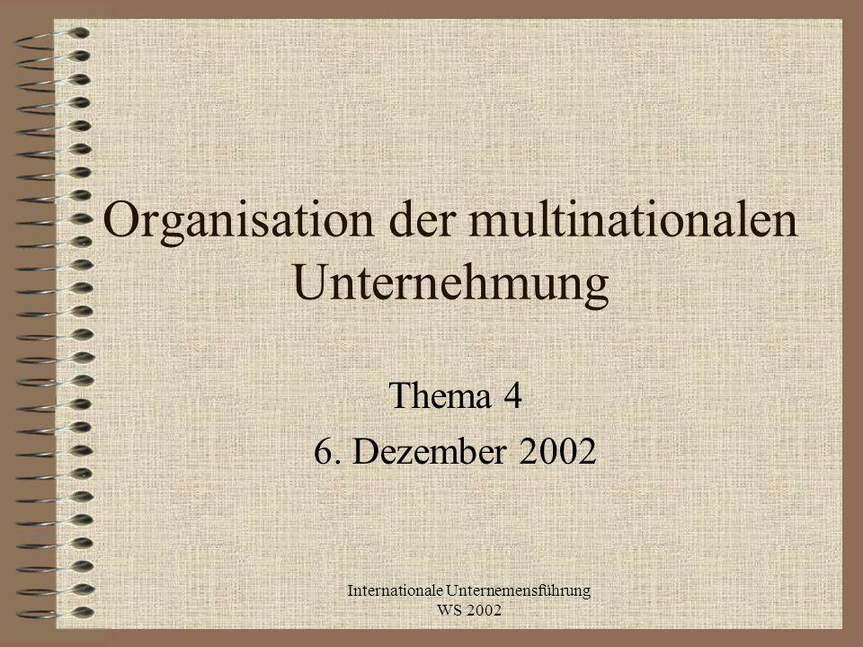 Organisation der multinationalen Unternehmung