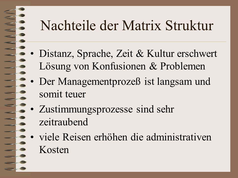 Nachteile der Matrix Struktur