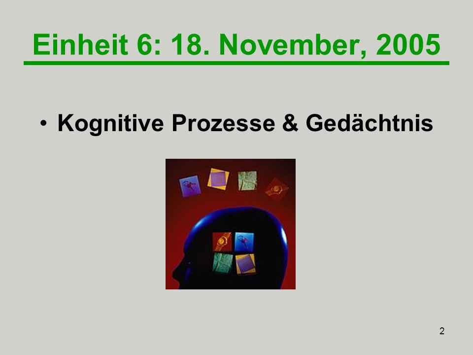 Kognitive Prozesse & Gedächtnis