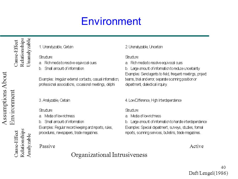 Environment Assumptions About Environment Organizational Intrusiveness
