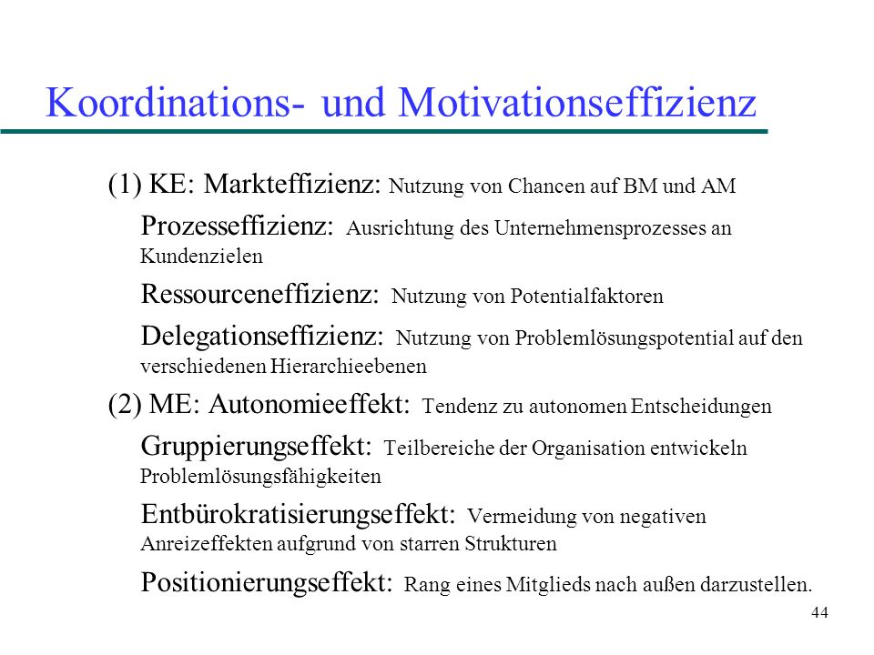 Koordinations- und Motivationseffizienz