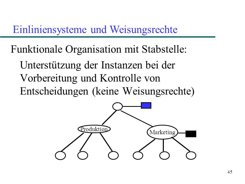 Einliniensysteme und Weisungsrechte