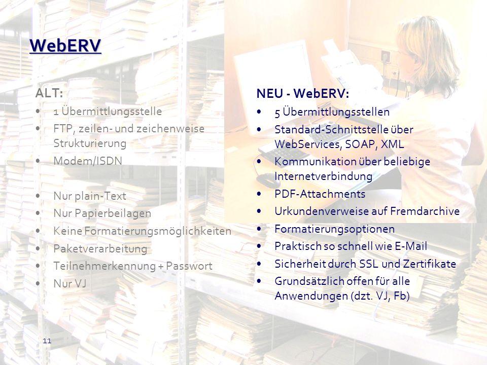 WebERV NEU - WebERV: ALT: 1 Übermittlungsstelle 5 Übermittlungsstellen