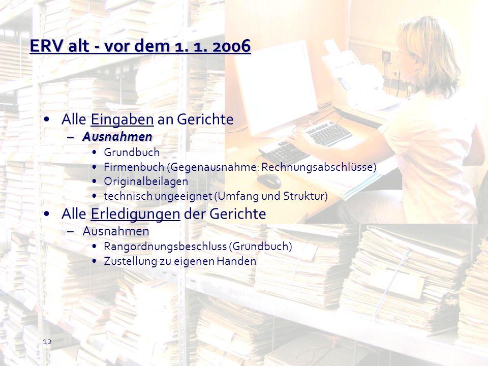 ERV alt - vor dem 1. 1. 2006 Alle Eingaben an Gerichte