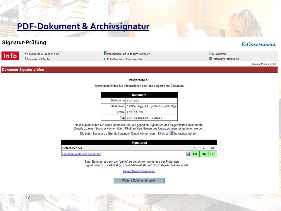 PDF-Dokument & Archivsignatur