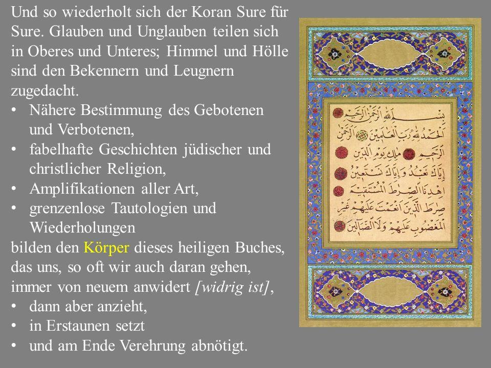 Und so wiederholt sich der Koran Sure für Sure