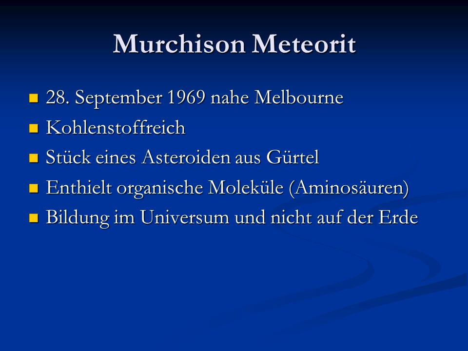 Murchison Meteorit 28. September 1969 nahe Melbourne Kohlenstoffreich