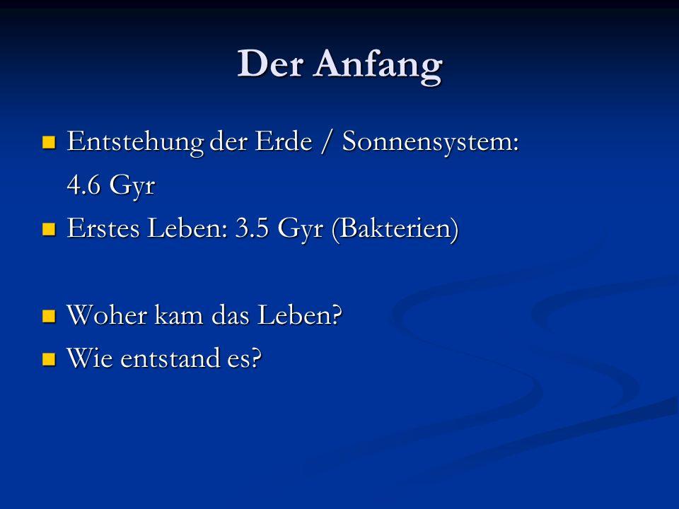 Der Anfang Entstehung der Erde / Sonnensystem: 4.6 Gyr