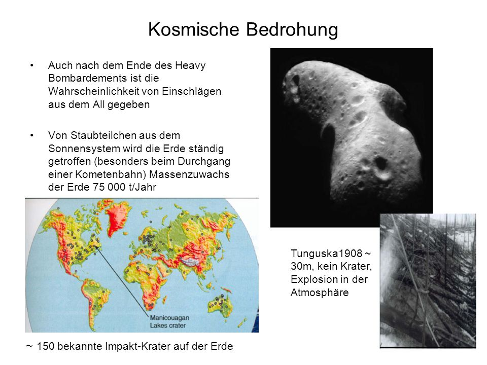Kosmische Bedrohung ~ 150 bekannte Impakt-Krater auf der Erde